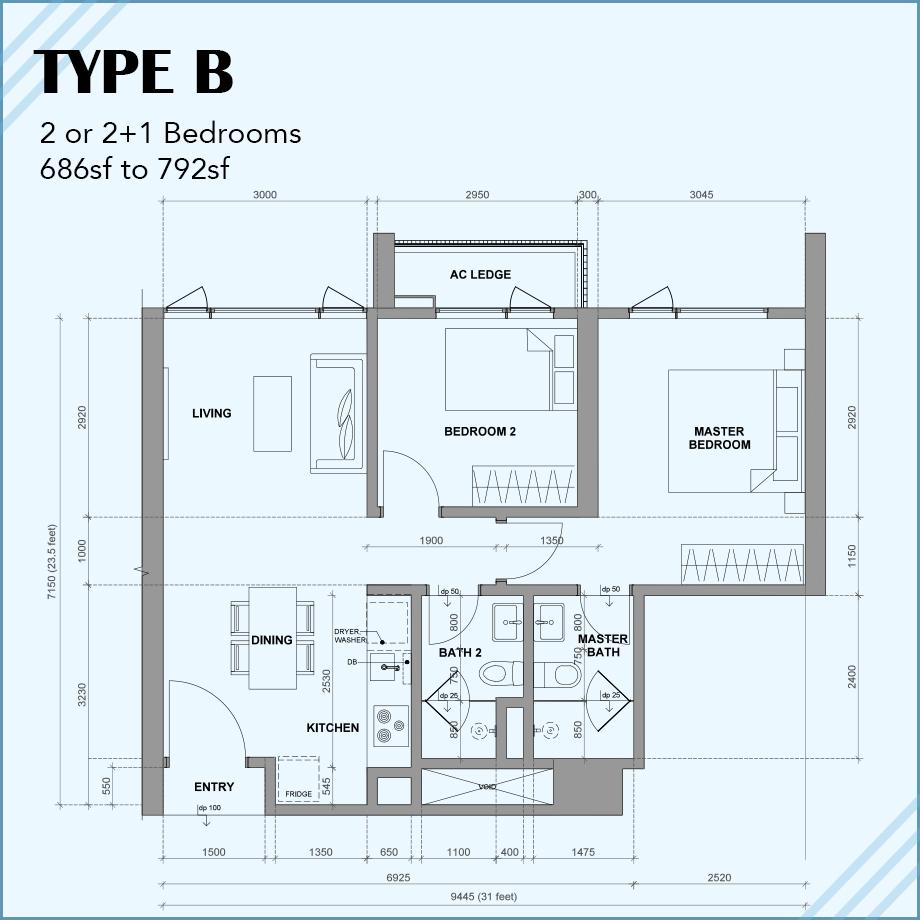 Type B: 2R 2B 1CP